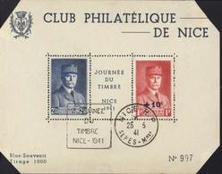 Bloc Souvenir Club Philatélique De Nice Journée Du Timbre Nice 1941 CAD Nice 25 5 41 Petain YT 473 + 494 - Blocs Souvenir
