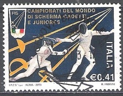 Italia 2003 Michel 2900 O Cote (2006) 0.80 Euro L'escrime Cachet Rond - 2001-10: Usados
