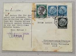 """Cartolina Pubblicitaria """"Kreuz-Motoren"""" Per Civitavecchia (Ita) - 20/07/1934 - Allemagne"""