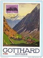 SCHWEIZ SWITZERLAND SUISSE FDC AK Karte Postcard Gotthard 1214 Eisenbahn Lokomotive  (9458) - FDC