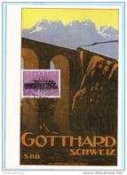 SCHWEIZ SWITZERLAND SUISSE FDC AK Karte Postcard Gotthard 1214 Eisenbahn Lokomotive  (9460) - FDC