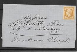 France:Superbe N°13A(*) Timbre Neuf Sur Lettre (cote 270,00€) Le Filet N'est Pas Touché - 1853-1860 Napoleone III