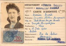 Haute Savoie, Carte D Identité, Monnetier-mornex, 1952      (bon Etat) - Cartes