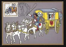 Berlin 1989  Mi.Nr. 853 , Postbeförderung - Brandenburgischer Postwagen - Maximum Card - Erstausgabe Berlin 12.10.1989 - Maximumkarten (MC)