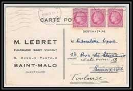 2273 Lettre (cover) N°679 Bande De 3 Mazelin Saint-Malo Ille-et-Vilaine 10/07/1947 Pour Toulouse - 1921-1960: Modern Period