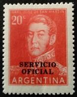 Argentine Argentina 1955 Personnalité Politicien Politician Surchargé Overprinted SERVICIO OFICIAL Yvert S380 * MH - Dienstpost
