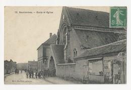 60 VAUCIENNES - école Et église - Animé - Cpa Oise - France