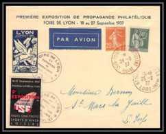 4225 France Lettre (cover) Vignette Premiere Exposition De Propagande Philatelique Foire De Lyon 1937 - Storia Postale