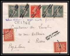 4436 France Devant Lettre (cover) N°146+137 Semeuse + Taxe Chargé Griffe Lineaire Rare Pour Riom Puy De Dome - Lettres Taxées