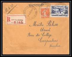 4487 France Lettre (cover) N°334 Ski Recommandé Entraigues-sur-la-Sorgue Vaucluse Pour Carpentras 12/4/1937 - Postmark Collection (Covers)