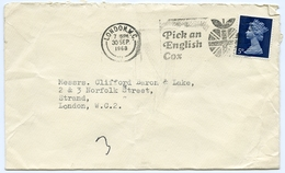 Slogan Postmark On Cover - APPLES - PICK AN ENGLISH COX, 1968 / Address - Strand - 1952-.... (Elisabeth II.)