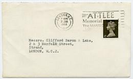 Slogan Postmark On Cover ATTLEE MEMORIAL APPEAL, 1968 / Address - Strand, London - 1952-.... (Elizabeth II)