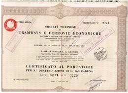 Titre Ancien- Societa Torinese De Tramways E Gerrovie Economiche - Titolo De 1934 - - Chemin De Fer & Tramway