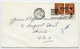 Slogan Postmark On Cover - Check Your Tyres 1968 / Address - Strand, London - 1952-.... (Elizabeth II)