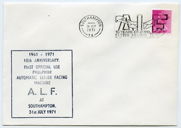PHOSPHOR AUTOMATIC LETTER FACING COVER - 10 YEARS, SOUTHAMPTON, 1971 - 1952-.... (Elizabeth II)