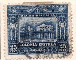 ERYTHREE (Colonie Italienne) - 1910-29 - N° 40 - 25 C. Bleu - (Palais Du Gouvernement à Massaouah) - Eritrea