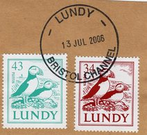 Great Britain - Lundy Island - 2002 - Birds - Puffins - Cancelled Stamp Set (envelope Cut), Postmark Of 2006 - Emisiones Locales