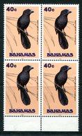 Bahamas 1993-95 Birds - 1993 Imprint Date - 40c Smooth Billed Ani - Block Of 4 MNH (SG 980) - Bahamas (1973-...)
