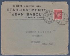 = Pétain Type Hourriez 1f Rouge N°514 Seul Sur (devant) De Lettre Limoux 17.12.41 - 1941-42 Pétain