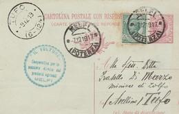 """Melfi . 1917. Annullo Guller MELFI (POTENZA), Su Cartolina Postale.  ANNULLO A TAMPONE PUBBLICITARIO... """"IL VULTURE"""" .. - Storia Postale"""