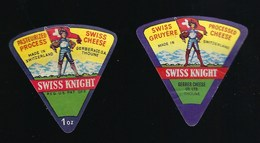 2 étiquettes Fromage  Portion Triangle  Swiss Knight  Gerber & Co Sa Thoune    Suisse  à Voir ! - Fromage
