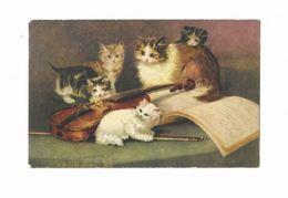 Illustration Signée D'une Chatte Et Ses 4 Chatons Autour D'une Guitare - - Illustrateurs & Photographes