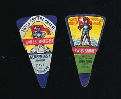 2 étiquettes Fromage  Portion Triangle  Swiss Knight  Gerber Cheese Thoune    Suisse  à Voir ! - Fromage