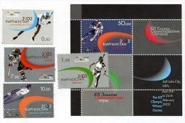 KYRGYZSTAN Kirghizistan 2002, SKI, PATINAGE, BIATHLON, HOCKEY, SAUT A SKI, 4 Valeurs Et 1 Bloc, Neufs / Mint. R1765 - Hiver 2002: Salt Lake City
