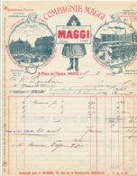 FA 1595 - FACTURE -   COMPAGNIE MAGGI  POTAGES  PARIS    1906 - Alimentaire