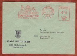 Brief, Absenderfreistempel, Stadt Salzgitter Erz Eisen Und Stahl, 30 Pfg, Salzgitter-Lebenstedt 1968 (88532) - BRD