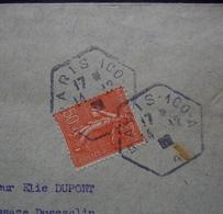 Paris 100 A  1932 Cachet Hexagonal X 2 Sur Timbre Semeuse - Postmark Collection (Covers)