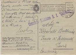 "MILITARI/ B - CARTOLINA - POSTA MILITARE N 75 - COMANDO DIVISIONE ""CALABRIA"" - Guerra 1939-45"