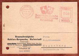 Karte, Absenderfreistempel, Wappen, Braunschweigische Kohlen-Bergwerke, 6 Pfg, Helmstedt 1943 (88536) - Deutschland