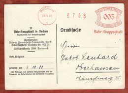 Karte, Drucksache, Absenderfreistempel, Ruhr-Knappschaft, 3 Pfg, Bochum 1933 (88542) - Deutschland