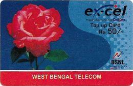 India - Ex-Cel - Rose Flower (Reverse #1), GSM Refill 50₹, Exp.31.10.2009, Used - India