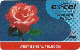 India - Ex-Cel - Rose Flower (Reverse #2), GSM Refill 50₹, Exp.31.10.2009, Used - India
