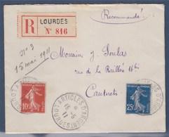 = Lettre Recommandé De Lourdes à Cauterets - Article D'Argent 15 MAI 11 Type Semeuse 138 Et 140, Cachet Peu Courant - 1906-38 Semeuse Camée