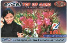 India - Ex-Cel - Woman & Flowers (Reverse #2), GSM Refill 220₹, Exp.31.01.07, Used - India