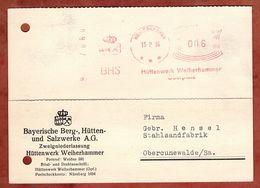 Karte, Absenderfreistempel, BHS Huettenwerk, 6 Pfg, Weiherhammer 1936 (88546) - Cartas