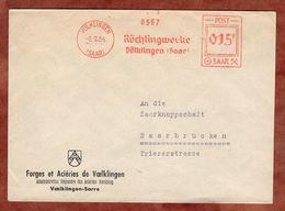 Brief, Absenderfreistempel, Roechlingwerke Voelklingen Saar, 15 F, 1954 (88548) - 1947-56 Allierte Besetzung