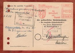 Karte, Absenderfreistempel, Wappen, Huettenstadt Voelklingen Saar, 12 F, 1954 (88549) - 1947-56 Allierte Besetzung