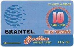 St. Kitts & Nevis - Skantel 10 Years - 15CSKA - 1995, 10.000ex, Used - St. Kitts En Nevis
