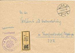 Austria Registered Cover Sent POSTDIENST To Germany DDR Linz 3-3-1960 - 1945-.... 2ème République