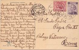 1925 Cartolina Augurale Per Papa PIO XI Con Michetti E Leoni - Franc1 - 1900-44 Vittorio Emanuele III