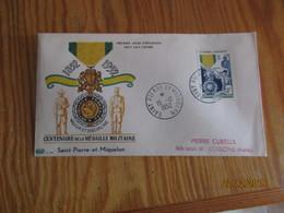 Enveloppe 1er Jour Saint-Pierre Et Miquelon Centenaire De La Médaille Militaire 1952 - FDC
