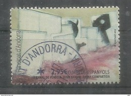 Exposition Internationale D'Art De La Cité De Venise (Biennale 2016),un Timbre Oblitéré, 1 ère Qualité D'Andorra Español - Andorre Espagnol