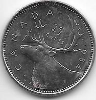 *canada 25 Cents 1984 Km 74  Unc - Canada