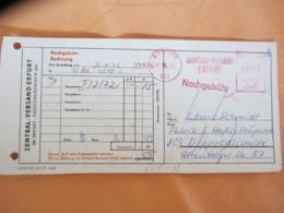 DDR: AFS Auf Briefstück Mit Aktenlochung Vom 27.3.72 -inter. Als Nachgebühr-Rechnung Zentral-Versand Erfurt - DDR