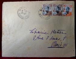 LOT X 2 ENVELOPPES POSTES INDO CHINE . MYTHO COCHINCHINE à PARIS 1925 &  SAIGON à PARIS 194 ? - Indochine (1889-1945)