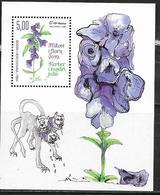BOSNIA CROAT, 2019, MNH, MYTHS AND FLORA, FLOWERS, CERBERUS AND ACONITUM NAPELLUS, TOXIC PLANTS, S/SHEET - Plants